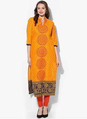 Picture of Yellow Colour Cotton Ladies Kurti
