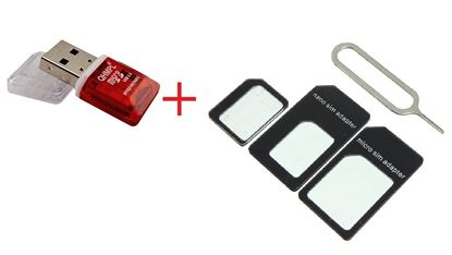 Picture of Mobile Accessories 2in1 Combo, Card Reader + Micro Sim Adapter, QHM 5570 Card Reader T flash Card Micro SD Card + SIM CARD Adapter Nano To Micro