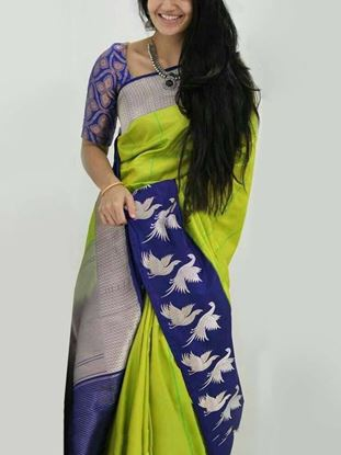 Picture of bangiory silk printed saree grey with multicolour