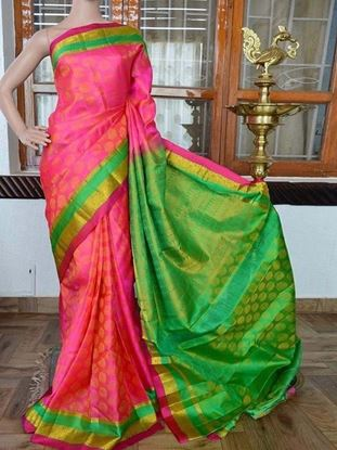 Picture of Banglory silk printed saree pink+green