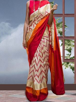 Picture of Banglory silkwight orange printed saree