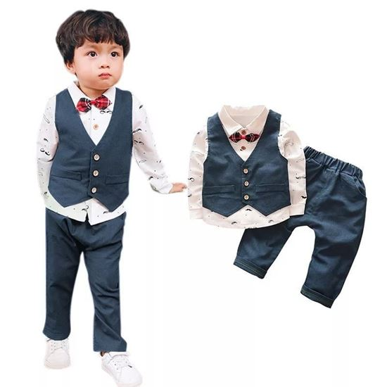 0a8c42af93334 S K Mani 3 pieces party wear boys dress with bow