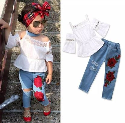 Picture of Flower Applique jeans with top