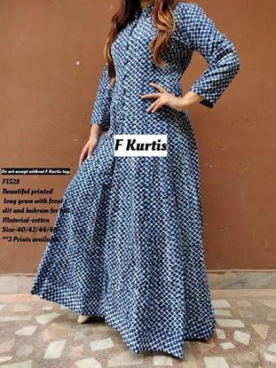 Picture of Beautiful printed long gown F-Kurtis 1528