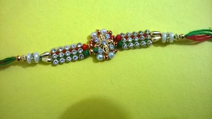 Picture of Kundan Bracelate Colorful Rakhi