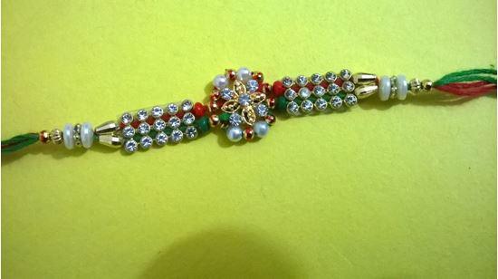 Picture of Kundan Bracelate Colorful Rakhi