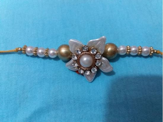 Kundan Golden Pearl Rakhi