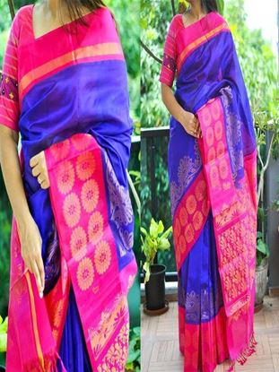 Picture of  pink blue combo Banglory Silk Printed Saree