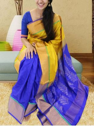 Picture of  blue yellow combo printed banglory silk