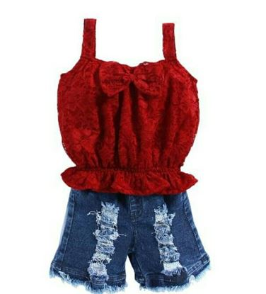 Picture of Beautiful 2 piece set  With short jeans