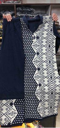 Picture of .k mani$#blue beautiful hand made design woolen kurti with plazo