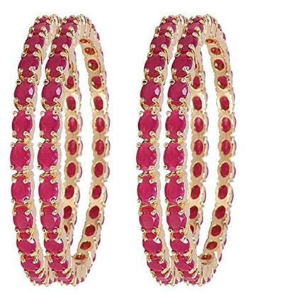 Picture of NJ FASHIONS Brass and American Diamond Bangles for Women & Girls
