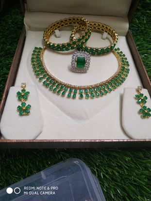 Picture of NJ FASHIONS Brass and American Diamond  Set with Earrings, ring and Bangles for Women & Girls