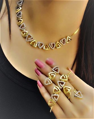 Picture of NJ FASHIONS Brass and American Diamond Set with bracelet earrings and ring combo for Women & Girls