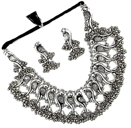 Picture of N.J FASHIONS Oxidised Necklace for Women Silver Plated Afghani Choker Necklace Jewellery Set with Earrings for Girls/Women.