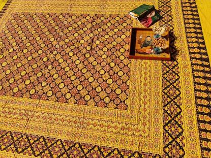 Picture of handcrafted pure cotton Ajrakh bedspreads