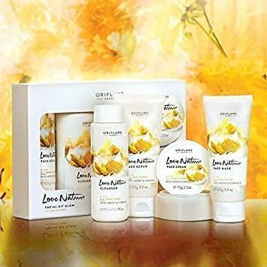 Picture of oriflame sweden nature facial kit glow milk, honey & turmeric 450 ml