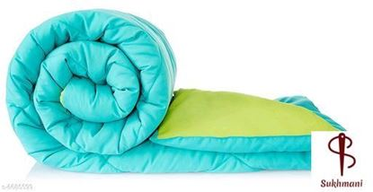 Picture of Solimo Microfiber Reversible Comforter, Single (Aqua Blue & Olive Green, 200 GSM)