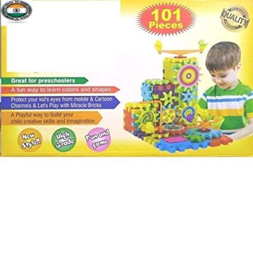 Picture of  Prachin Mall Miracle Bricks Learning Toy 101 Piece Interlocking Learning Blocks Development Educational Toys for Kids (Multi Color)