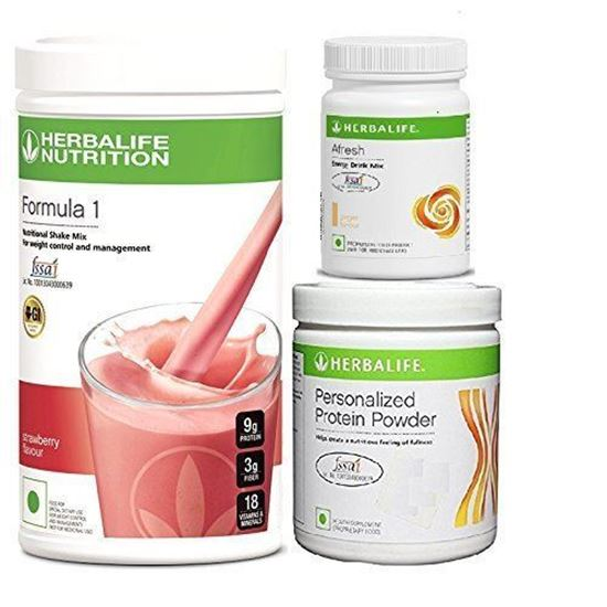 Picture of Herbalife Formula 1(Strawberry) + Personalized Protein Powder(200gm)+Afresh(Ginger)