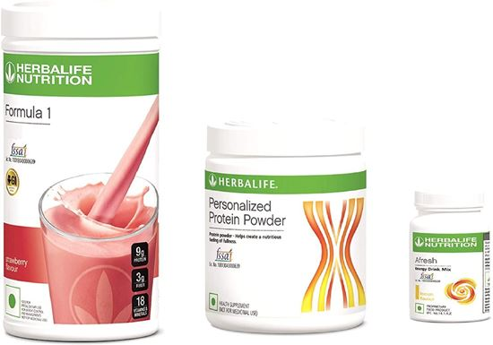Picture of Herbalife F1 Strawberry Shake,500g, F3 Protein Powder, 200g and Afresh Lemon, 50g