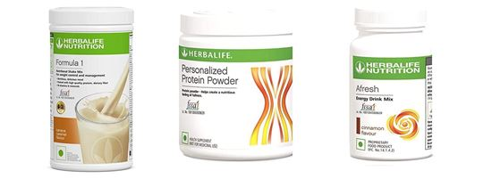 Picture of Herbalife Formula 1 Nutritional Shake Mix (Banana Caramel) With Personalized Protein Powder and Afresh Energy Drink Mix- Cinnamon