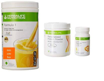 Picture of Herbalife F1 banana caramel F3 protein powder Afresh lemon