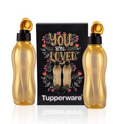 Picture of Tupperware Plastic Water Bottle, 750ml, Set of 2, Golden.