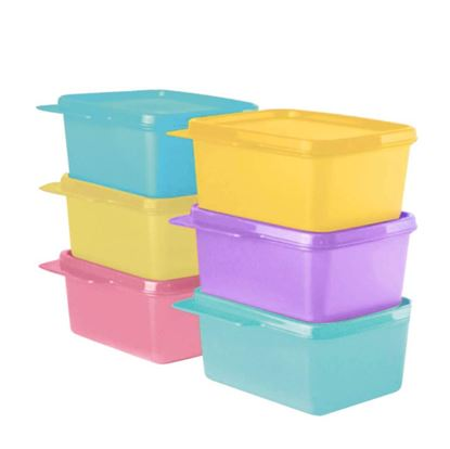 Picture of Tupperware 11155971 Plastic Refrigerator Container - 500ml, 6 Pcs, Green, Purple, Pink, Blue, Yellow