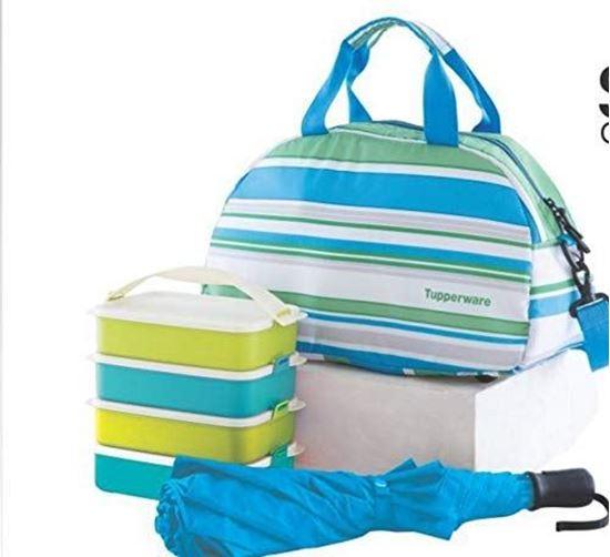Picture of Tupperware Tupin Plastic Umbrella and Backpack Picnic Set (Multicolour)