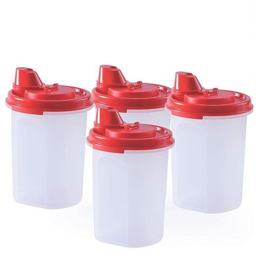 Picture of Tupperware Plastic Oil Dispenser, 440ml, Set of 4, Red