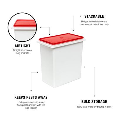 Picture of Tupperware Plastic Rice Keeper, 10Kg(multicolor)