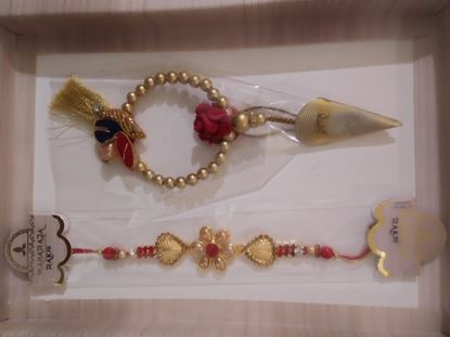 Picture of Rakhi for brother and lumba  for Bhabhi with 1 Roli tika